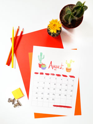 August 2016 Free Printable Calendar from Janehayescreative.com