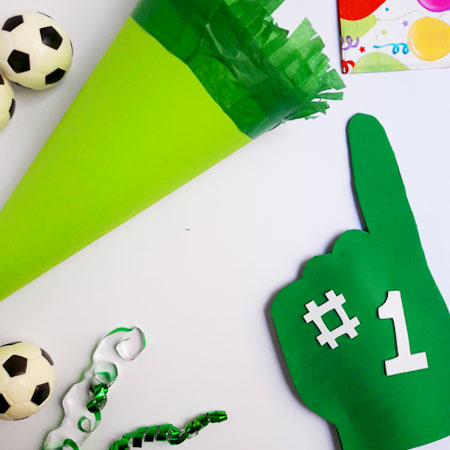 Giant Foam Hands for Mini Football Fans! Kids craft step by step. Jane Hayes Creative