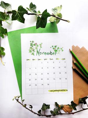 November 2016 Free Printable Calendar from Janehayescreative.com
