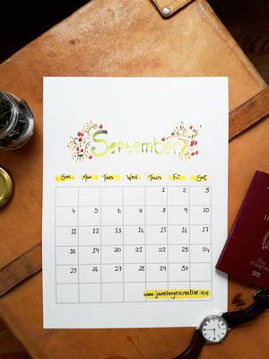 September 2016 Free Printable Calendar from Janehayescreative.com