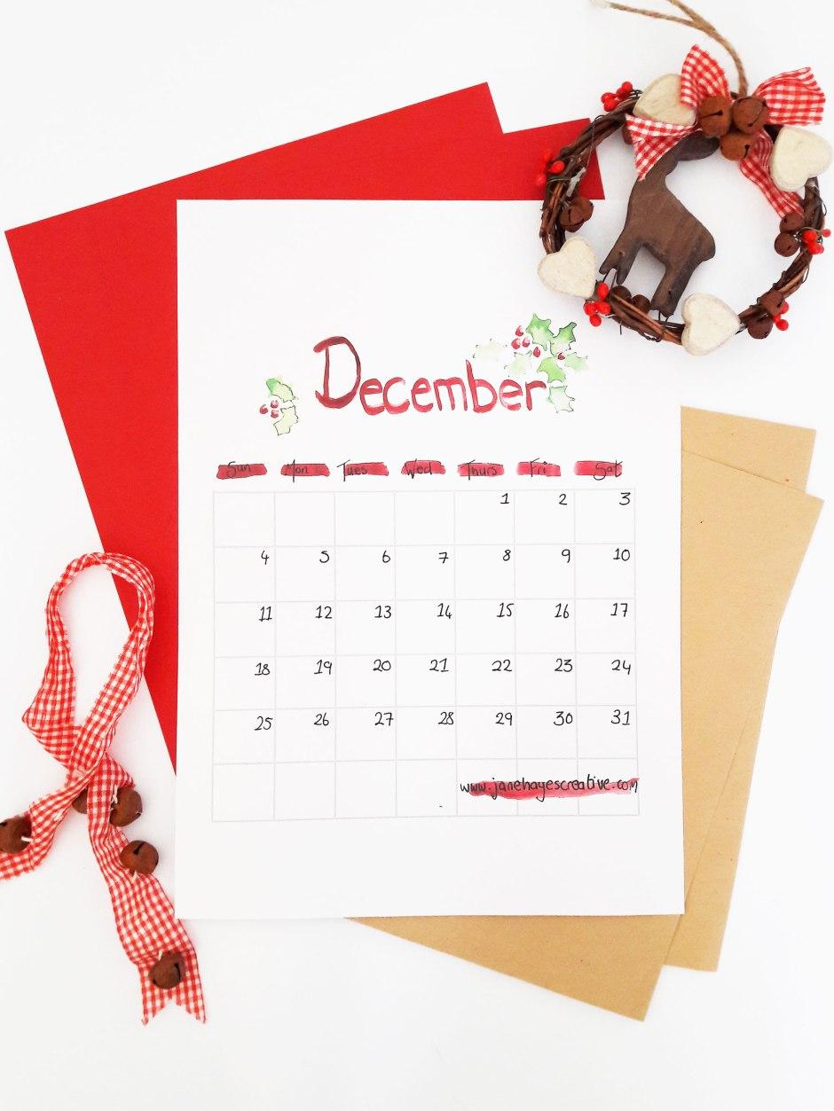 December 2016 Free Printable Calendar from Janehayescreative.com